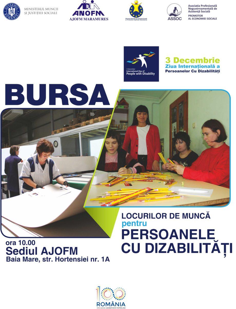 Persoanele cu dizabilități sunt așteptate în 3 decembrie la Bursa Locurilor de Muncă din Baia Mare